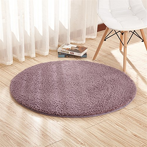 Ommda Teppiche Schurwolle Wohnzimmer Flauschig Modern Outdoor Teppiche Rund Rutschfest Anti Rutsch Graues Lila 120cm (Flauschige Teppich Graue)