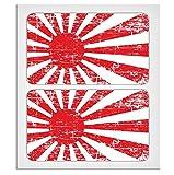 2x 70mm–2.76'envejecido estilo Japón sol Naciente bandera laminado adhesivo alta calidad por miovespa colección