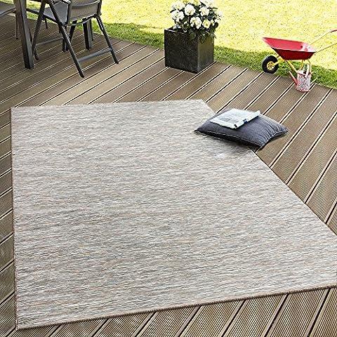 In- & Outdoor Flachgewebe Teppich Terrassen Teppiche Mit Farbverlauf In Beige, Grösse:140x200 cm (Teppich Für Balkon)
