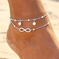 Zoestar Boho - Cavigliera doppia con perle in argento per donne e ragazze