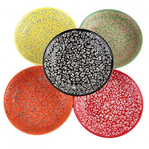 Lachineuse 5 Assiettes Design ASIATIQUES - Teintes Colorés et Motifs Idéogrammes