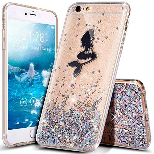 Coque iPhone 6,Coque iPhone 6S,Étui iPhone 6S,Étui iPhone 6,ikasus® iPhone 6S / 6 Housse Coque Silicone Étui Téléphone Couverture TPU avec Brillant Shiny cristal de luxe Glitter Bling Diamant Glitter  Argent