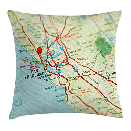 GONIESA Map Throw Pillow Cushion Cover Vintage Map of San Francisco Bay Area with Red Pin City Travel Location, Decorative Square Accent Pillow Case, 16x16 Inch/40cmx40cm, Light Blue Pale Green Red