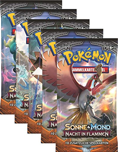 Sonne und Mond Serie 3 - Nacht in Flammen - Display, Booster - Deutsch (5 Booster) - Karten-packs 5 Pokemon