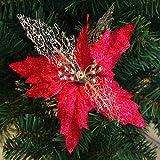 dontdo Weihnachtsstern mit hohlem Glitzer, Weihnachtsbaum rot