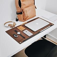 Nivera Large PU Felt Leather Washable Laptop Desk Mat with Pen & Paper Pocket (Brown)