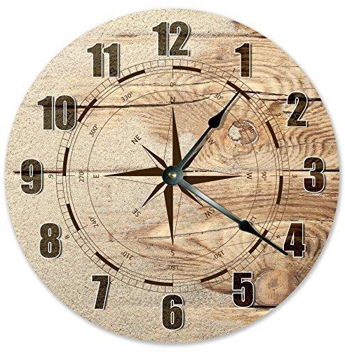 Monsety Moderne Holz-Uhr für Kinder Wind-Rosen-Kompass, Braune Uhr, Nicht tickend, Holz, Quarz-Wanduhr, 38 cm