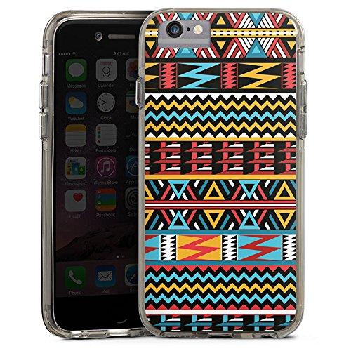 Apple iPhone 6s Bumper Hülle Bumper Case Glitzer Hülle Ethno Style Muster Pattern Bumper Case transparent grau