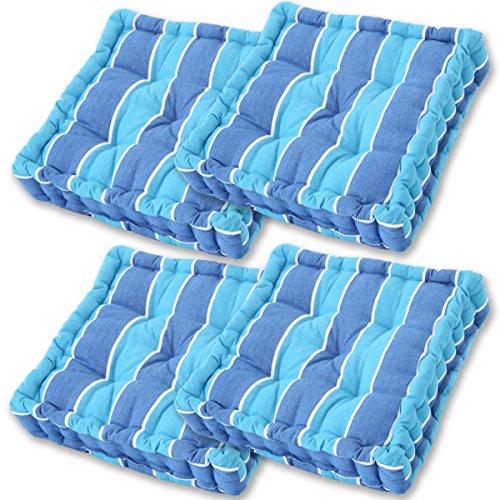 Gräfenstayn® Set de 4 Coussins d'Assise Coussins de Chaise 40x40x9cm pour intérieur et extérieur - 100% Coton - Différents Coloris – Rembourrage épais (Bleu/Bleu Clair)