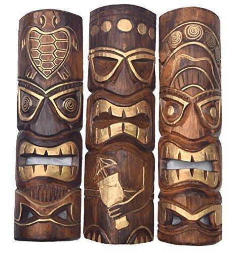 3-Tiki-Mscaras-50cm-IM-HAWAI-Estilo-Juego-de-3-Mscara-de-madera-Mscara-de-pared-MARES-DEL-SUR