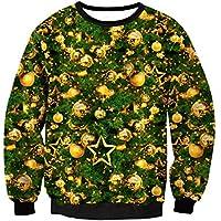 FOOBRTOPOO Novedad Navidad Sudadera navideña Chaqueta Deportiva de Invierno Tops Camiseta con Estampado de Navidad Unisex Manga Larga O-Cuello Outwear Blusa-S (Color : Colorful, tamaño : S)