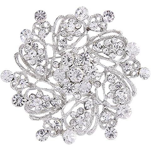 EVER FAITH® silver-tone di cristallo austriaco elegante bouquet da sposa Spilla Pin Cancella