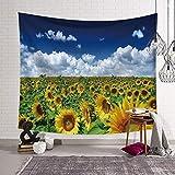 Tappeto da parete con girasoli giallo fiori blu cielo paesaggio da parete Tapestry Bohemian Mandala carta da parati, decorazione da parete per camera da letto soggiorno 203x150cm 9