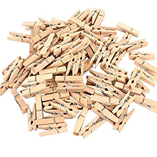 Lumanuby 50x Wooden Mini Pegs Wooden Craft Clips Photo Paper Pegs DIY Mini Photo Small Wooden Clip Natural