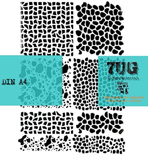 Designer Schablone 8 Kostbarkeiten/Texturen für Mixed Media und Scrapbooking