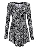 KoJooin Women Traditional Print Long Sleeve Flared Tunic Top Black-White 3XL