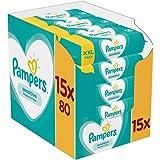 Pampers Sensitive Feuchttücher 15 Packungen Mit Feuchttüchern = 1200 Feuchttücher, Mit Dem Einzigartigen Pampers PH…