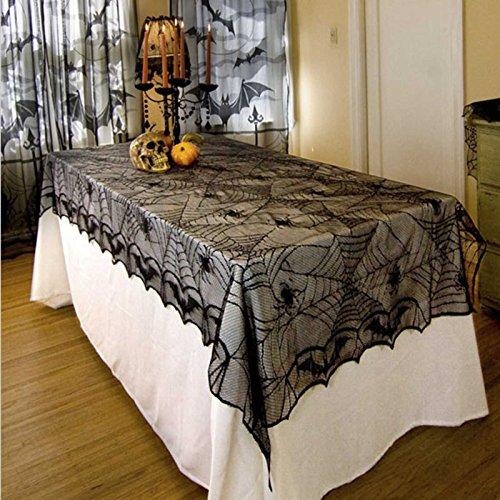 junmu Halloween Tischdecke, 132,1x 254cm Tischdecke, rechteckig, schwarz Spider Halloween Tischdecke Tisch Overlay–Perfekt für Halloween, Dinner Party und Scary Movie Nights, Polyester, Schwarz , 52'' x 100'' Rectangular