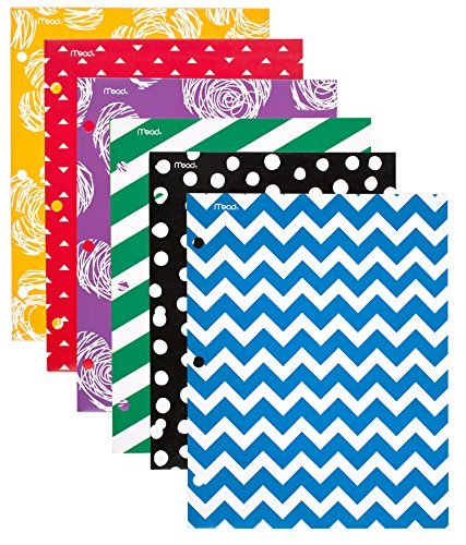 Mead Pocket Folders, 2-Pocket Folders, 12 x 9-3/8, Commodity Fashion, Assorted Designs, 6 Pack (73851) by Mead 9.375
