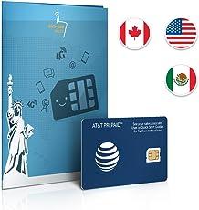 Prepaid Sim-Karte USA, Kanada & Mexiko AT&T Netz - 6GB 4G LTE - Unbegrenzte Anrufe und Sms - 30 Tage