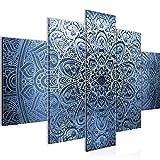 Bilder Mandala Abstrakt Wandbild 150 x 100 cm Vlies - Leinwand Bild XXL Format Wandbilder Wohnzimmer Wohnung Deko Kunstdrucke Blau 5 Teilig - MADE IN GERMANY - Fertig zum Aufhängen 101253b