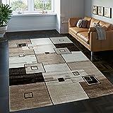 PHC Edler Designer Teppich Kariert Kurzflor in Braun Beige Creme Meliert, Grösse:160x230 cm