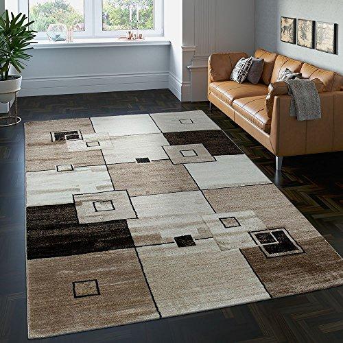 Tappeto di alto design quadrettato pelo corto marrone beige crema screziato, dimensione:160x230 cm