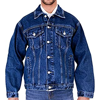 MENS AZTEC CASUAL DENIM JACKET STONEWASH 3XL