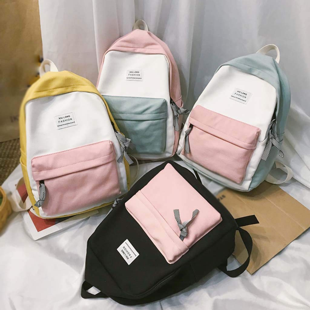 FossenStu Mochila Escolar Juveniles para Chicas Casual Portátil de Costuras de Color Mochilas Escolares Adolescentes Niñas para Viaje,