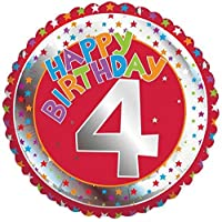 "Age 4/4th Red Happy Birthday 18"" Foil Balloon"