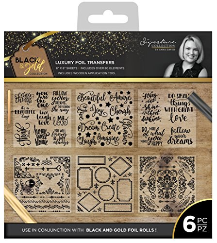 "Sara Signature ""Black & Gold Folie überträgt, Mehrfarbig, 6Stück"