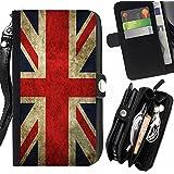 Graphic4You Bandera de Reino Unido Inglaterra Gran Bretaña Union Jack Británica Carcasa Funda Monedero Con Cremallera y Correa de Muñeca Para Sony Xperia Z3