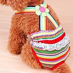 UEETEK Perro, perro lavables pañales reutilizables envuelve tirantes pantalones sanitarios pañales para perras
