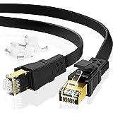 Câble Ethernet Cat 8 3m, Câble réseau Cat.8 LAN Câble réseau Plat avec Pinces, connecteur RJ45 plaqué Or Câble LAN d'ordinate