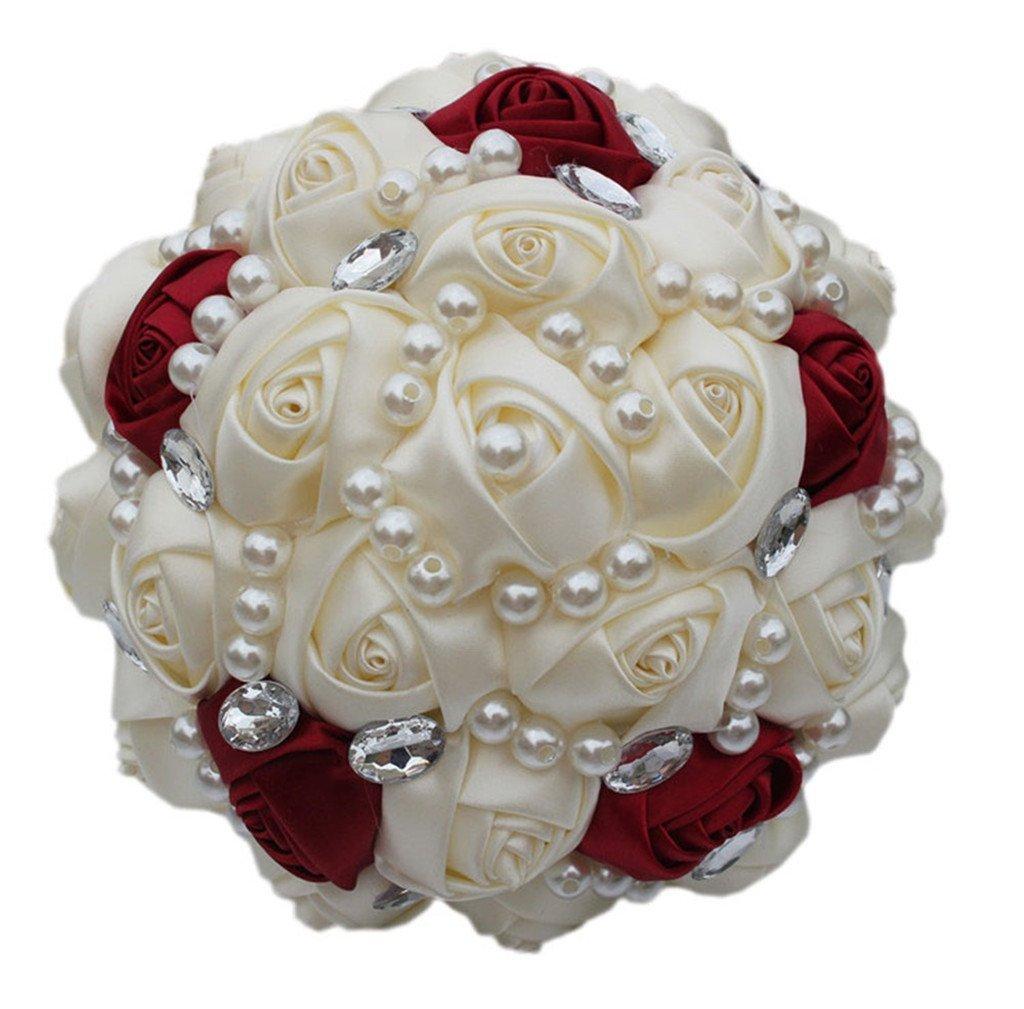 Fouriding Ramo de Boda Nupcial Cinta Hecha a Mano de Satén Rosa Perlas Cristales Decoración Para el Hogar de Boda(18 CM)