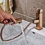 Hlluya Wasserhahn für Waschbecken Küche Alle Kupfer ziehen Sie warme und kalte Rose Gold Basin Wasserhahn antiken Tisch Becken Tabelle ausziehbaren Wasserhahn B