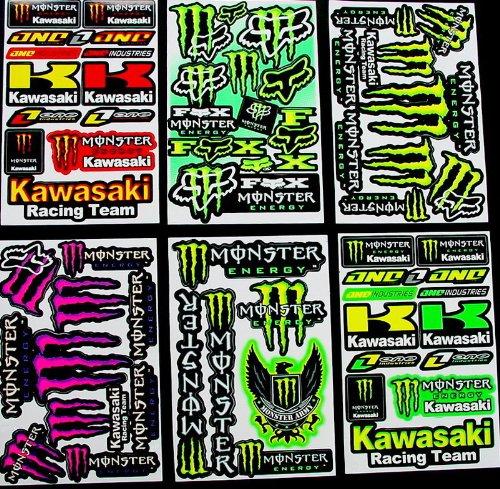 Preisvergleich Produktbild 6 BLATT AUFKLEBER VINYL KL/ MOTOCROSS STICKERS BMX BIKE PRE CUT STICKER BOMB PACK METAL ROCKSTAR ENERGY SCOOTER