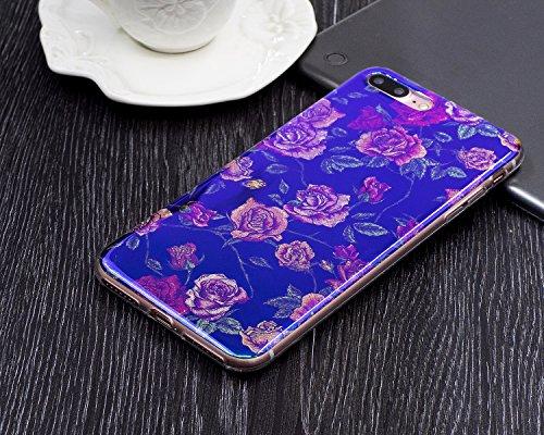"""Coque pour Apple iPhone 7Plus 5.5""""(NON iPhone 7 4.7""""), CLTPY Fashion Motif Fleur élégant Housse dans Doux Silicone Plastic en Blue Bling Flash Protection Case Glitter Sparkles Coquille pour iPhone 7Pl Belle Rose"""
