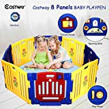 COSTWAY Baby Playpen with 8 Colorful Panels, Upgraded Safety Lock, Changeable into Octagon