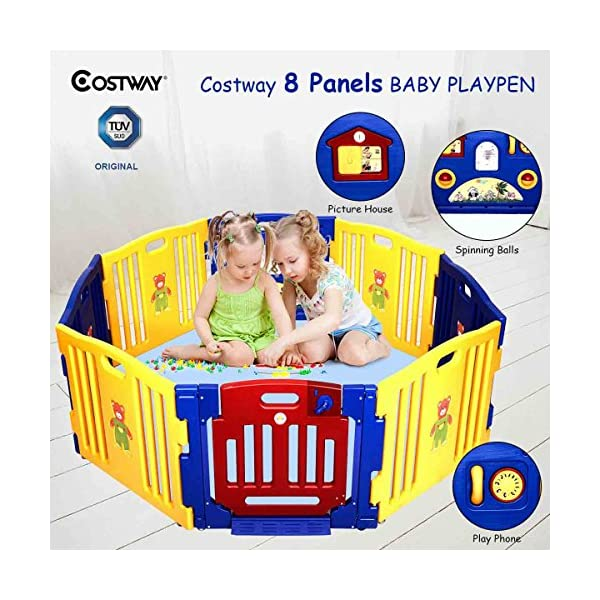 COSTWAY Baby Playpen with 8 Colorful Panels, Upgraded Safety Lock, Changeable into Octagon, Rectangle, Square, Triangle as Infant & Toddlers Activity Center (Blue) Costway 【Easy to install and clean】Easy to assemble within a few seconds. You can enjoy a happy time when install the playpens with your family. Polyethylene materials allows for easy cleaning and maintenance. 【Stylish and multi- functions】Picture House, Play Phone, Spinning Balls are available so that your little one can enjoy playing alone for a while. The colorful design offers a dreamy activity center for your little angel. 【Premium Quality and safe Materials】Our baby Playpen is made of Polyethylene which has an extensive application on daily necessities, it is non-toxic and extraordinarily stable. EN71 products meet European standards. 1