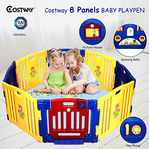 COSTWAY Baby Playpen with 8 Colorful Panels, Upgraded Safety Lock, Changeable into Octagon, Rectangle, Square, Triangle as Infant & Toddlers Activity Center (Blue) Test