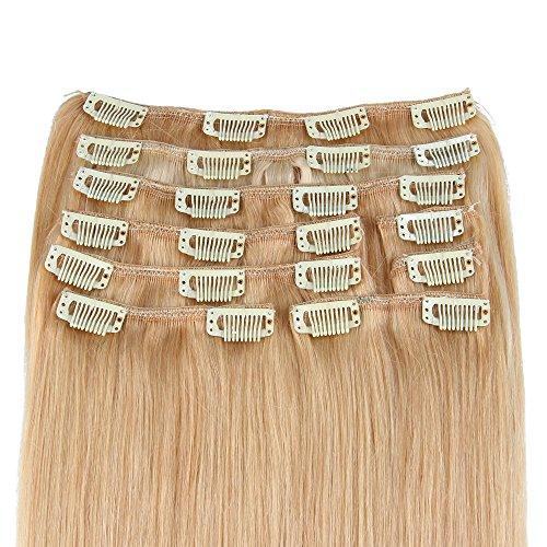 Beauty7 120g Extensions de Cheveux Humains à Clip 100% Remy Hair #16 Couleur Blonde Foncé Longueur 60 cm