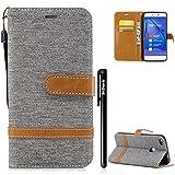 BtDuck Handyhülle Compatible for Huawei P8 Lite 2017 Hülle [Nicht für P8 Lite 2015] Kreativ Denim + PU Leder Weich Tasche Brieftasche Bookstyle Ledertasche Weich Silikon Back Cover Schutzhülle Grau