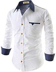 Tryme Fashion Men's Cotton Casual White Shirt for Men Full Sleeves
