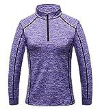 AiJump Camiseta Funcional Deportiva para Mujer 1/2 Cremallera Manga Larga Transpirable Secado Rápido para Ciclismo Esquí Montaña Ciclismo Fitness