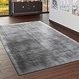 Paco Home Teppich Handgefertigt Hochwertig 100% Viskose Vintage Optisch Meliert In Grau, Grösse:120x170 cm