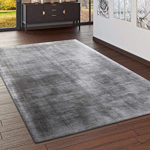 Paco Home Teppich Handgefertigt Hochwertig 100% Viskose Vintage Optisch Meliert In Grau, Grösse:160x230 cm - Viskose-teppich