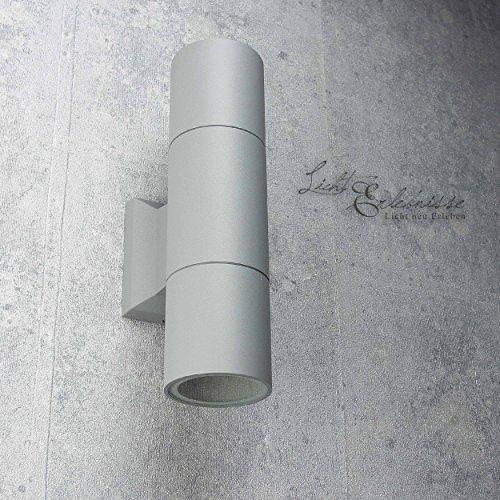 Licht-Erlebnisse Außenwandleuchte Aluminium 120 W, Grau Ø6,5cm