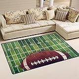 Naanle American Football Field Rutschfester Teppich für Wohnzimmer, Esszimmer, Schlafzimmer, Küche, 50 x 80 cm, Polyester, Multi, 100 x 150 cm(3' x 5')