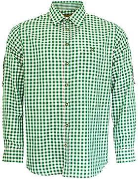 Maddox Slim Fit Trachtenhemd Niels - Grün Weiß - Kariertes Herren Oberhemd